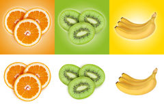 Set of fruits on color and white backgrounds. Orange, kiwi, bana. Fruit set on colored backgrounds. Orange, kiwi, banana isolated on white background Stock Images