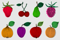 Set of 8 fruits Stock Photos