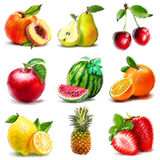 Set of fruits. Digital graphic like pastel freehand drawing. Royalty Free Stock Photos