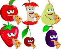 Set of fruits eating pizza Royalty Free Stock Image