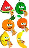 Set of fruits eating pizza Royalty Free Stock Photography
