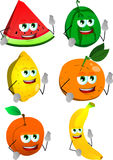 Set of fruits with fingers crossed Royalty Free Stock Photos