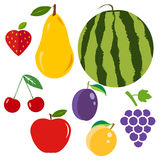 Set of fruits. Flat design, illustration royalty free illustration