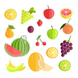 Set of Fruits Flat Design Vector Illustration. Stock Photography