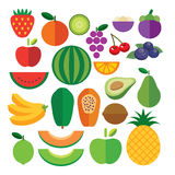 Set of fruits flat icon Royalty Free Stock Photos