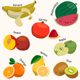 Set of fruits. Flat style. Vector illustration Royalty Free Stock Photos