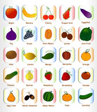 Set of fruits for fonts a to z icons colors,. Illustrator Stock Image