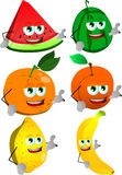 Set of fruits gesturing a call me sign Stock Image