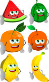 Set of fruits giving hand for handshake Royalty Free Stock Photos