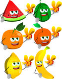 Set of fruits giving you a gift box Royalty Free Stock Photos
