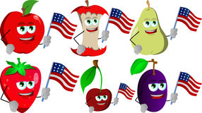 Set of fruits holding the flag of the USA Stock Photos