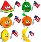 Set of fruits holding the flag of the USA Royalty Free Stock Photography