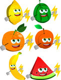 Set of fruits holding lighting Royalty Free Stock Images