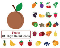 Set of 24 Fruits Icons. Flat color design. Vector illustration Stock Images