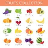 Set of fruits icons. Flat style design Stock Image