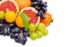 Set of fruits isolated on white background. Free space for text. Royalty Free Stock Image