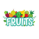 Set Of Fruits Objects And Letters Royalty Free Stock Photography
