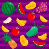 Set fruits pattern stock illustration