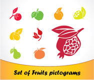 Set of Fruits pictogram. Set of fruits silhouettes. Vector Stock Photography