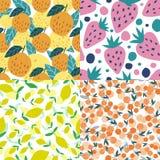 Set of fruits seamless pattern. Cherry berries, apples, lemons, strawberries stock images