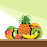 A set of fruits with shadow Stock Images