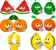 Set of fruits shaking hands Royalty Free Stock Photos
