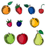 Set of fruits in sketch pencil style Stock Photos