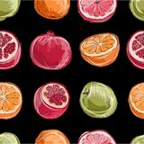 Set of fruits, sketch for your design Royalty Free Stock Image