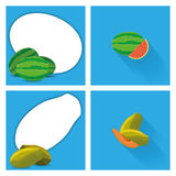 Set Of Fruits With Space For Text. Vector Set Of Fruits With Space For Text Stock Image