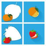 Set Of Fruits With Space For Text. Vector Set Of Fruits With Space For Text Stock Illustration