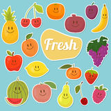Set of  fruits stickers. Cartoon fruits. Fresh and juicy Stock Photo