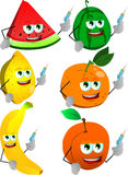 Set of fruits with syringe Royalty Free Stock Image