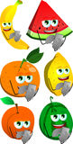 Set of fruits using a smartphone Stock Photo