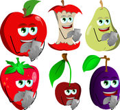 Set of fruits using a smartphone Royalty Free Stock Photo