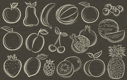 Set of fruits, vector Stock Image