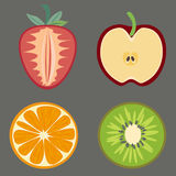 Set Of Fruits Vector. Vector EPS of Fruits Set Stock Photos