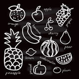 Set of fruits vector illustration on black background. Organic food. EPS 10 Stock Photo