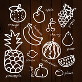 Set of fruits vector illustration on wood background. Organic food. EPS 10 Royalty Free Stock Photography