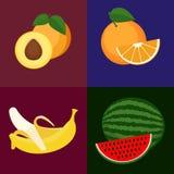 Set of fruits. Set of vector fruits. Sweet, tasty orange, apricot, water melon and banana Royalty Free Stock Image