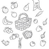 Set of fruits and vegetables with a basket in black contour Royalty Free Stock Images