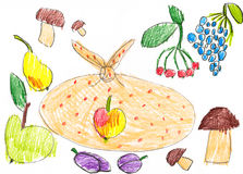 Set of fruits and vegetables. childlike drawing. Stock Photos