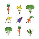 Set of fruits and vegetables doing sport -avocado, carrot, banana, eggplant, broccoli, cartoon vector illustration Royalty Free Stock Images