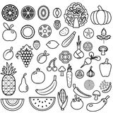 Set of fruits and vegetables. Food icon Royalty Free Stock Photos