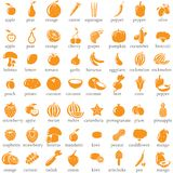 Set of fruits and vegetables icons Stock Photos