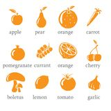 Set of fruits and vegetables icons Royalty Free Stock Photo