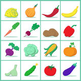 Set of fruits and vegetables. Icons of fruits and vegetables  - Vector illustration Royalty Free Stock Photo