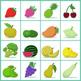 Set of fruits and vegetables. Icons of fruits and vegetables  - Vector illustration Stock Photography