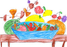 Set of fruits and vegetables, illustration, pencil drawing on paper Stock Image