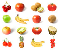Set of fruits and vegetables isolated Royalty Free Stock Photos