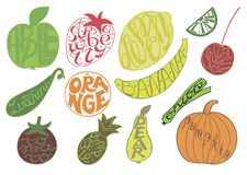 Set with fruits and vegetables, made hand lettering. Set with fruits and vegetables. Hand lettering made inside fruits Apple, Lemon, Strawberry, cherry, Orange Stock Images